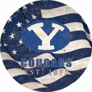 """BYU Cougars 12"""" Team Color Flag Circle Sign"""