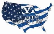 "BYU Cougars 15"" USA Flag Cutout Sign"