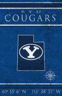 """BYU Cougars 17"""" x 26"""" Coordinates Sign"""
