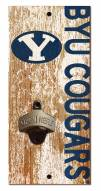 """BYU Cougars 6"""" x 12"""" Distressed Bottle Opener"""