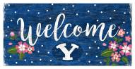 """BYU Cougars 6"""" x 12"""" Floral Welcome Sign"""