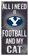 """BYU Cougars 6"""" x 12"""" Football & My Cat Sign"""