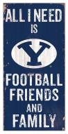 """BYU Cougars 6"""" x 12"""" Friends & Family Sign"""