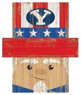 """BYU Cougars 6"""" x 5"""" Patriotic Head"""
