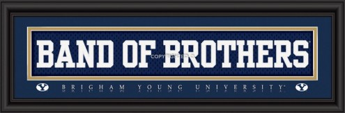 """BYU Cougars """"Band of Brothers"""" Stitched Jersey Framed Print"""
