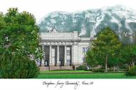 BYU Cougars Campus Images Lithograph