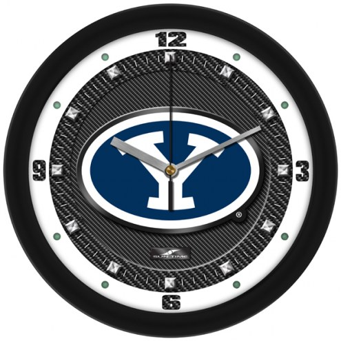 BYU Cougars Carbon Fiber Wall Clock