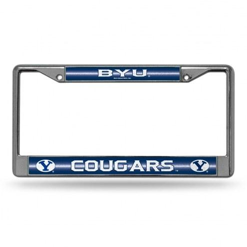 BYU Cougars Chrome Glitter License Plate Frame