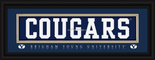 """BYU Cougars """"Cougars"""" Stitched Jersey Framed Print"""