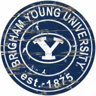 BYU Cougars Distressed Round Sign