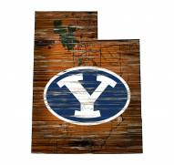 BYU Cougars Distressed State with Logo Sign