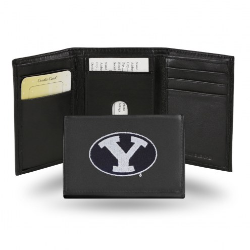BYU Cougars Embroidered Leather Tri-Fold Wallet