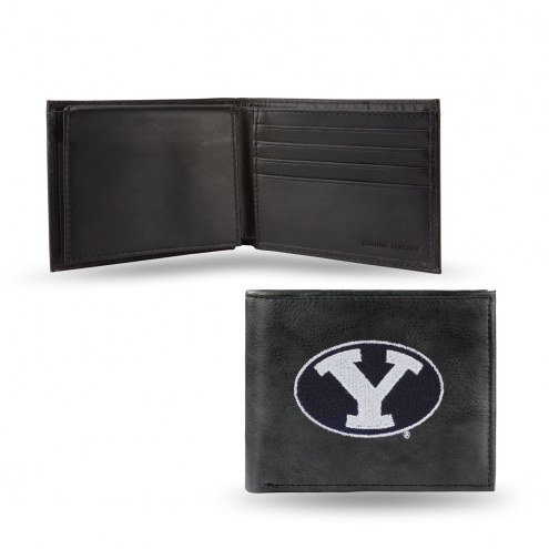 BYU Cougars Embroidered Leather Billfold Wallet