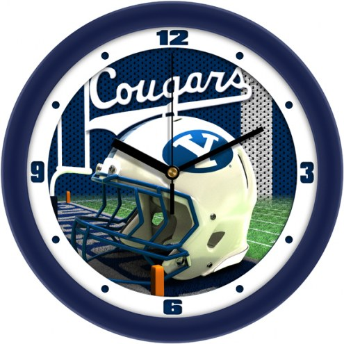 BYU Cougars Football Helmet Wall Clock