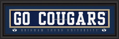 """BYU Cougars """"Go Cougars"""" Stitched Jersey Framed Print"""