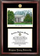 BYU Cougars Gold Embossed Diploma Frame with Campus Images Lithograph
