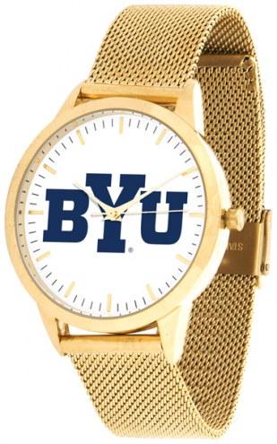 BYU Cougars Gold Mesh Statement Watch