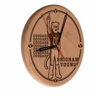 BYU Cougars Laser Engraved Wood Clock