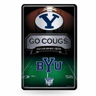 BYU Cougars Large Embossed Metal Wall Sign
