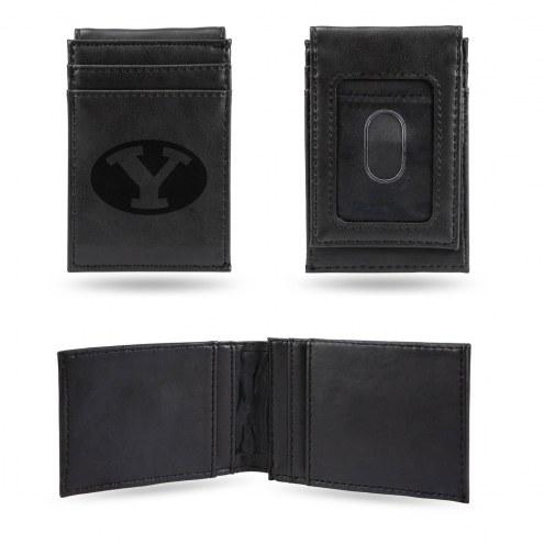 BYU Cougars Laser Engraved Black Front Pocket Wallet