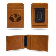 BYU Cougars Laser Engraved Brown Front Pocket Wallet