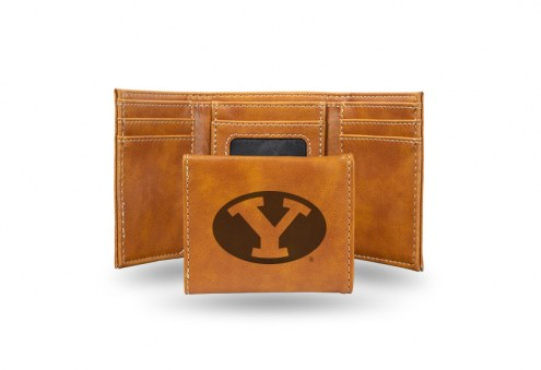 BYU Cougars Laser Engraved Brown Trifold Wallet