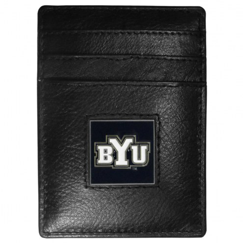 BYU Cougars Leather Money Clip/Cardholder in Gift Box