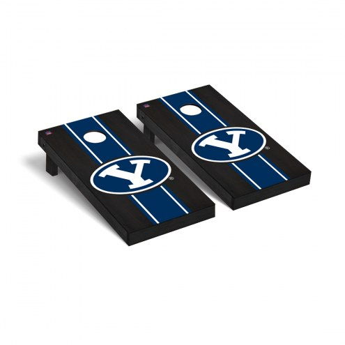 BYU Cougars Logo Onyx Stained Cornhole Game Set