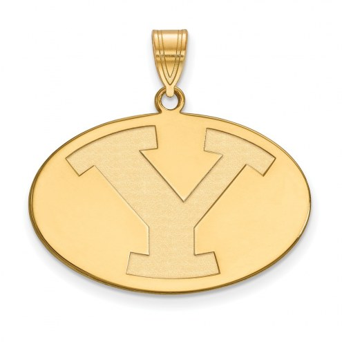 BYU Cougars NCAA Sterling Silver Gold Plated Large Pendant