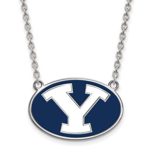 BYU Cougars NCAA Sterling Silver Large Pendant Necklace