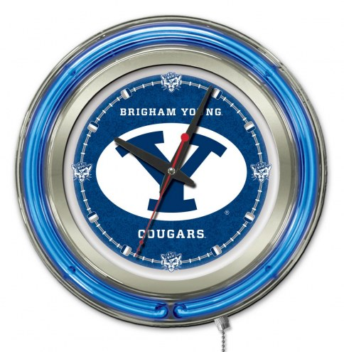 BYU Cougars Neon Clock