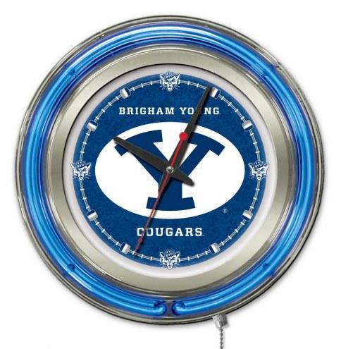 BYU Cougars Neon Clock