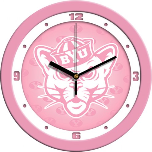BYU Cougars Pink Wall Clock
