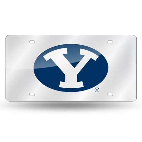 BYU Cougars Silver Laser License Plate