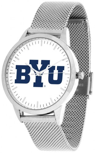BYU Cougars Silver Mesh Statement Watch