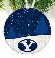 BYU Cougars Snow Scene Ornament