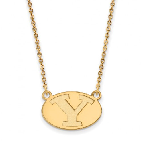 BYU Cougars Sterling Silver Gold Plated Small Pendant Necklace