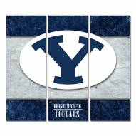 BYU Cougars Triptych Double Border Canvas Wall Art