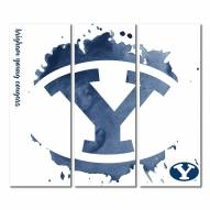BYU Cougars Triptych Watercolor Canvas Wall Art