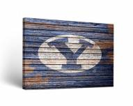 BYU Cougars Weathered Canvas Wall Art