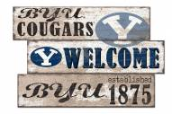 BYU Cougars Welcome 3 Plank Sign