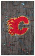"""Calgary Flames 11"""" x 19"""" City Map Sign"""