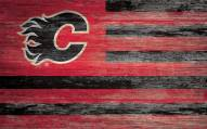 """Calgary Flames 11"""" x 19"""" Distressed Flag Sign"""