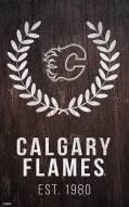 "Calgary Flames 11"" x 19"" Laurel Wreath Sign"