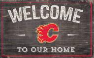 """Calgary Flames 11"""" x 19"""" Welcome to Our Home Sign"""