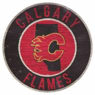 """Calgary Flames 12"""" Circle with State Sign"""