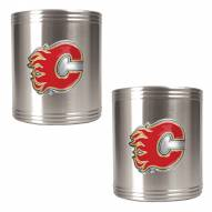 Calgary Flames 2-Piece Stainless Steel Can Koozie Set - Primary Logo