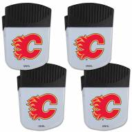 Calgary Flames 4 Pack Chip Clip Magnet with Bottle Opener