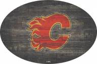 """Calgary Flames 46"""" Distressed Wood Oval Sign"""