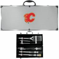 Calgary Flames 8 Piece Stainless Steel BBQ Set w/Metal Case